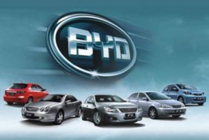 BYD logo and cars