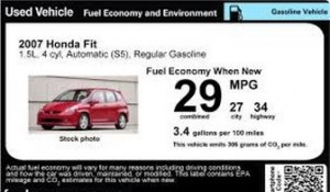 EPA used vehicle label