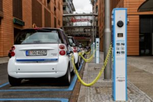 Electric cars charging in German