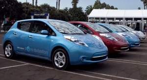 Nissan Leaf on dealer lot