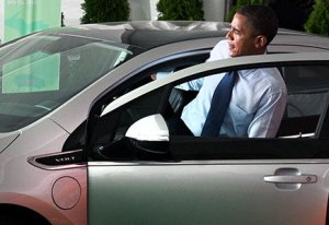 Obama driving Chevy Volt
